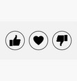 like icons thumb up and down with heart icons vector image vector image