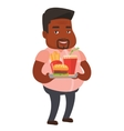 Man holding tray full of fast food vector image vector image