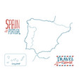 map spain and portugal drawn hand on white vector image