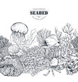 monochrome seamless coral reef pattern vector image vector image