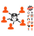 nurse linked patients icon with love bonus vector image