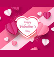 pink paper elements in shape a heart flying vector image vector image