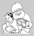 santa claus hugging little boy vector image vector image