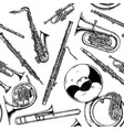 seamless pattern with woodwind and brass musical vector image