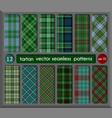 set in green tartan seamless pattern background vector image vector image