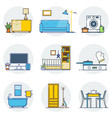 set of line interior design icons line sign vector image vector image
