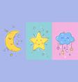 set posters yellow sleepy moon vector image