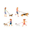 set teenage and kids walking with dogs vector image vector image