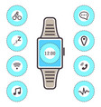 smart technology wrist watch icons isolated vector image