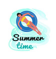 summer time woman in yellow bikini swimming vector image vector image