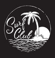 Surf club inscription with palm treeocean and sun