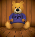 Teddy bear brown stuffed toy print on chest wooden vector image