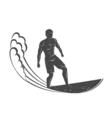 Vintage logo Men surfing on wave Surfboard Surf vector image