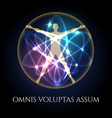 vitruvian man in glowing spheres emblem vector image vector image