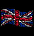 waving uk flag pattern of waving flag icons vector image