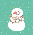 winter card with cartoon cute snowman vector image
