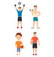 sportsmen icon set cartoon style vector image