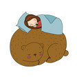 a sleeping girl and a bear good fairy tale vector image vector image