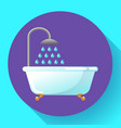 bathtub with shower flat icon water vector image vector image