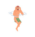 bearded man in diving glasses going dive in water vector image vector image