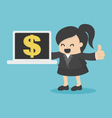 business woman showing a notebook with money vector image vector image