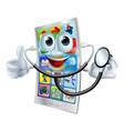 cartoon phone holding a stethoscope vector image vector image