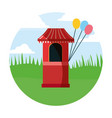 circus booth with balloons in field carnival vector image vector image