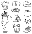 Collection stock of thanksgiving set doodles vector image vector image