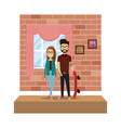 couple in the corridor house vector image