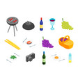 family picnic with bbq icons isometric view vector image vector image