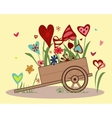 Flower arrangement of colorful hearts in a handcar vector image
