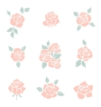 flower icon set decorative rose silhouettes vector image vector image