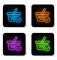 glowing neon shopping basket with check mark icon vector image vector image
