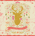 Hand drawn vintage label with a reindeer and vector image vector image