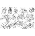 handdrawn line art gestures in vintage comic style vector image vector image