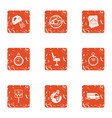 human delivery icons set grunge style vector image
