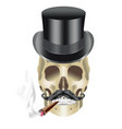 human skull gangster with hat mustache and sigar vector image