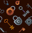 keys and locks seamless pattern vintage vector image vector image