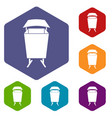 litter waste bin icons set hexagon vector image vector image