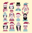 man and woman in the santa hat men and women vector image vector image