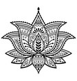 mehndi henna tattoo lotus flower design vector image