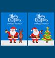 merry xmas happy new year posters santa deer tree vector image vector image