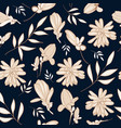 nature in navy and cream floral repeat print vector image vector image