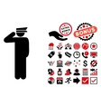 Police Officer Flat Icon with Bonus vector image vector image