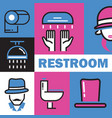 restroom colorful collage line icons vector image