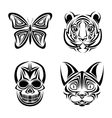 skull butterfly tiger cat tattoo design vector image vector image
