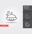 soap in soap dish line icon with editable stroke vector image vector image