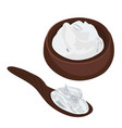 sour cream in a bowl and a spoon vector image vector image