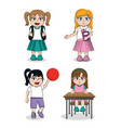 student girls cartoons vector image vector image