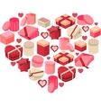 Stylized pink heart made of hearts vector image vector image